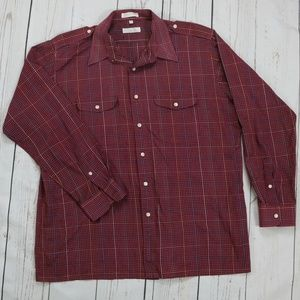 Christian Dior Burgundy Long-Sleeve Button-Down
